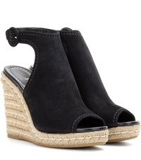 Prada Suede And Jute Wedges Black