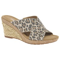 Gabor Purpose Wide Fit Slip On Wedge Heeled Sandals Leopard