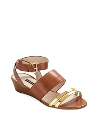 French Connection Wiley Wedge Sandals Gold Tan