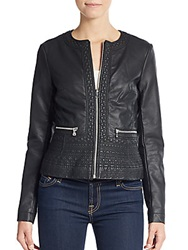 French Connection Seamed Faux Leather Jacket Black