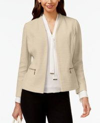 Alfani Petite Collarless Textured Blazer Only At Macy's French Stone
