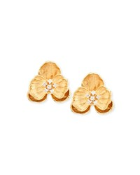 Michael Aram 18K Small Orchid Clip Earrings With Diamonds