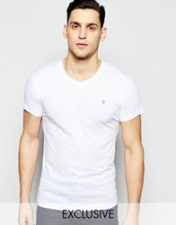 Farah T Shirt With V Neck And F Logo Slim Fit Exclusive White