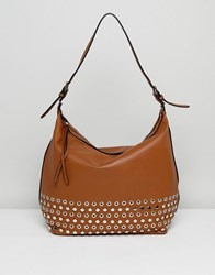 Lavand Slouchy Shoulder Bag With Eyelet Detailing Tan