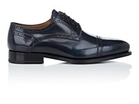 Barneys New York Cap Toe Burnished Leather Bluchers Black Grey