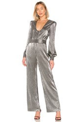 House Of Harlow X Revolve Gladys Jumpsuit Metallic Silver