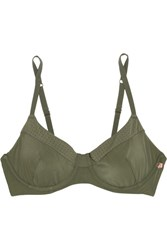 Elle Macpherson Body The Body Perforated Stretch Jersey Bra Forest Green