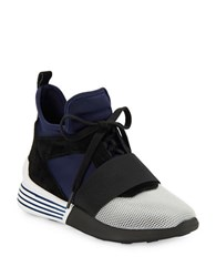 Kendall Kylie Bradin Mesh Accented High Top Sneakers Black Blue
