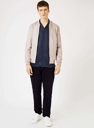 Topman Light Grey Faux Suede Formal Bomber Jacket