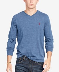 Polo Ralph Lauren Men's V Neck Long Sleeve Shirt Blue