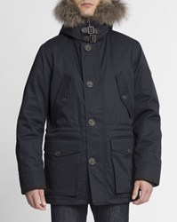 Hackett Navy Blue Arctic Goose Down Fur Lined Collar Hooded Parka