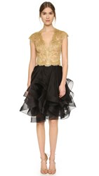 Reem Acra Cap Sleeve Lace Dress Gold Black