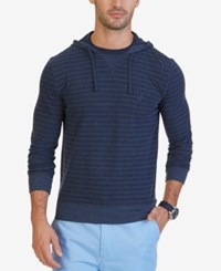 Nautica Men's Slim Fit Striped Hoodie Mood Indigo