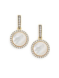Freida Rothman Mother Of Pearl And 14K Yellow Gold Vermeil Disk Drop Earrings
