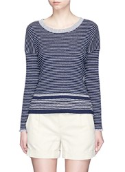 James Perse Stripe Rib Knit Sweater Blue White