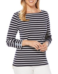 Rafaella Striped Three Quarter Sleeve Tee White