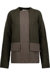 Jil Sander Paneled Fleece And Wool Blend Coat Army Green