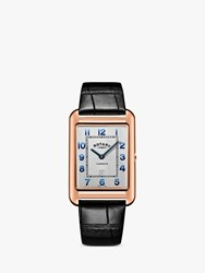 Rotary 'S Cambridge Date Leather Strap Watch Black Rose Gold Gs05284 70