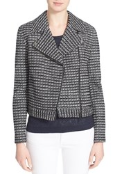 Women's Tory Burch Knit Moto Jacket Black Raffia Stripe Tweed