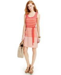 Tommy Hilfiger Striped Colorblock Tank Dress Sugar Coral