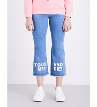 Mini Cream Printed Cropped High Rise Jeans Blue