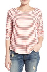 Women's Caslon Shirttail Sweatshirt Red Apple Stripe
