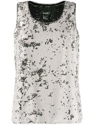 Dkny Sequin Sleeveless Metallic Top Neutrals