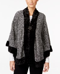 Jm Collection Fake Fur Trim Marled Poncho Only At Macy's Black White Marl