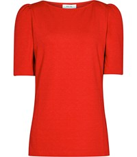Reiss Lisa Puff Sleeve Top In Clementine