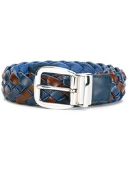 Etro Interlaced Leather Belt Blue