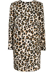 Boutique Moschino Leopard Print Mini Dress Brown