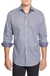 Thomas Dean Classic Fit Gingham Sport Shirt Navy