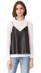 Endless Rose Pullover With Faux Leather Cami Off White Black
