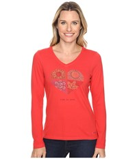 Life Is Good Four Seasons Heart Long Sleeve Crusher Vee Simply Red Women's Long Sleeve Pullover