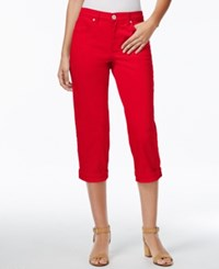 Styleandco. Style And Co. Tummy Control Cuffed Capri Jeans New Red Amore