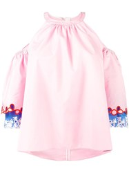 Peter Pilotto Embroidered Cold Shoulder Blouse Pink And Purple