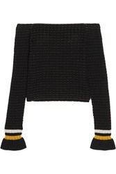 3.1 Phillip Lim Off The Shoulder Smocked Cotton Blend Sweater Black