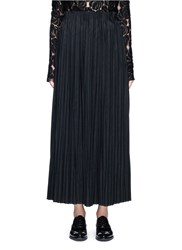 Ms Min Pleated Wool Blend Skirt Black