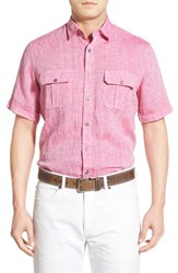 Men's Toscano Regular Fit Short Sleeve Linen Sport Shirt Tulip