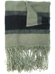Golden Goose Deluxe Brand Striped Scarf With Fringed Hem Nylon Mohair Wool Green