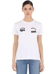 Chiara Ferragni Eye Embroidery Cotton Jersey T Shirt White