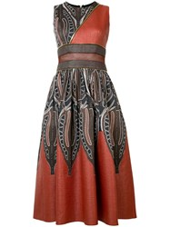 Sophie Theallet Panelled Zipped Midi Dress Brown