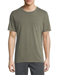 Billy Reid Washed Pocket Crewneck T Shirt Moss