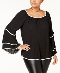 Ing Trendy Plus Size Tiered Contrast Trim Blouse Black Ivory