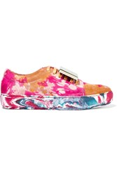 Acne Studios Adriana Plaque Detailed Printed Calf Hair Sneakers Yellow