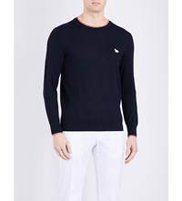 Maison Kitsune Fox Patch Wool Knitted Jumper Navy