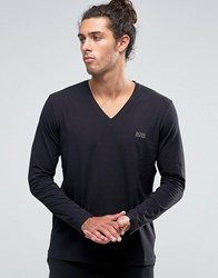 Boss Hugo V Neck Long Sleeve Top In Regular Fit Black