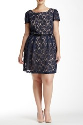 Single Dress Cap Sleeve Lace Dress Plus Size Blue