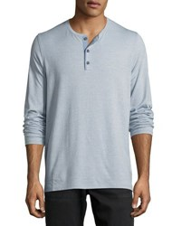 Vince Mouline Long Sleeve Henley Shirt Infinity Blue
