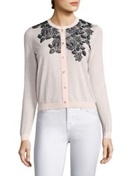 Saks Fifth Avenue Floral Embroidered Cardigan Baby Pink White Black